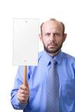 Mens met een leeg teken royalty-vrije stock fotografie