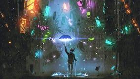 Mens met een magische paraplu die de stad vernietigen stock illustratie