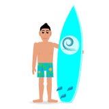 Mens met een mens van de surfplankzomer in borrels Stock Afbeeldingen