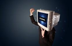 Mens met een monitorhoofd, geen signaalteken op de vertoning Stock Fotografie