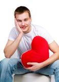 Mens met een rood hart Royalty-vrije Stock Afbeelding