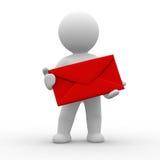 Mens met envelop Stock Foto's