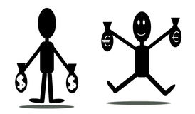 Mens met euro en dollars Stock Afbeeldingen