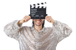Mens met film clapperboard Stock Fotografie