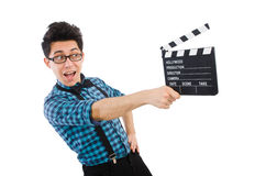 Mens met geïsoleerde film clapperboard Stock Foto's
