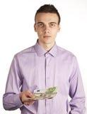 Mens met geld royalty-vrije stock foto's