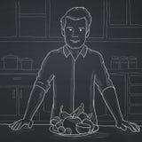 Mens met gezond voedsel royalty-vrije illustratie
