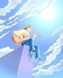 Mens met gitaar vector illustratie