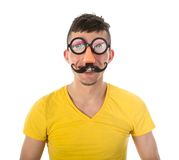 Mens met grappig Carnaval-masker Royalty-vrije Stock Afbeelding