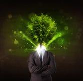 Mens met groen boom hoofdconcept Stock Foto's