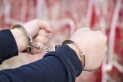Mens met handcuffs royalty-vrije stock foto's