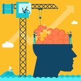 Mens met hersenenraadsel Creatieve conceptenachtergrond Stock Foto's