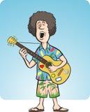 Mens met het akoestische gitaar zingen Royalty-vrije Stock Foto