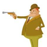 Mens met het dueling van pistool royalty-vrije illustratie