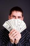 Mens met het geld Stock Foto