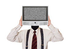 Mens met het lawaaierige TV-scherm voor hoofd Stock Foto's