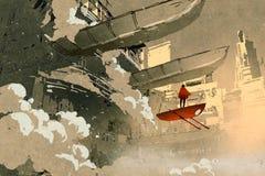 Mens met het vliegende voertuig die in futuristische stad drijven vector illustratie