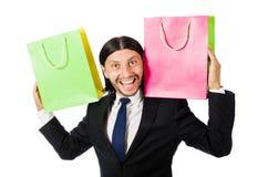 Mens met het winkelen zakken Stock Foto