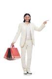 Mens met het winkelen zakken op wit Royalty-vrije Stock Foto