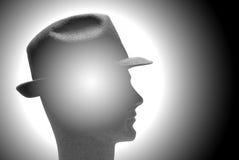 Mens met hoed bij het denken stock illustratie