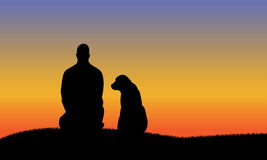 Mens met hond silhouttes Royalty-vrije Stock Fotografie