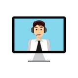 Mens met hoofdtelefoon op computer stock illustratie