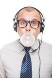 Mens met hoofdtelefoons Royalty-vrije Stock Afbeelding