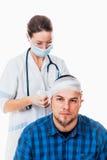 Mens met hoofdtrauma royalty-vrije stock afbeelding