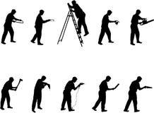 Mens met hulpmiddelensilhouetten Stock Afbeelding