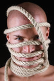 Mens met kabel op zijn hoofd Stock Afbeelding