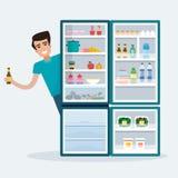 Mens met koelkast Stock Afbeeldingen