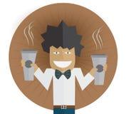 Mens met koffie twee Royalty-vrije Stock Foto's
