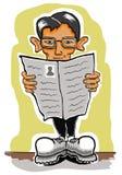 Mens met krant royalty-vrije illustratie