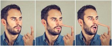 Mens met lange neus Leugenaarconcept Menselijke gezichtsuitdrukkingen, emoties, gevoel royalty-vrije stock foto