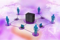 Mens met laptop met de grote firewall van het server Netto Werk 3d beeld Royalty-vrije Stock Afbeeldingen