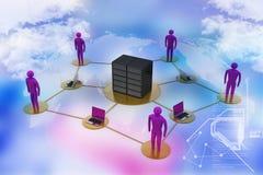Mens met laptop met de grote firewall van het server Netto Werk 3d beeld Stock Foto