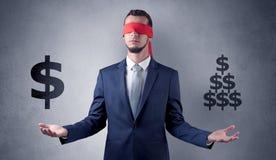 Mens met lint op zijn de dollartekens van de oogholding Stock Afbeelding