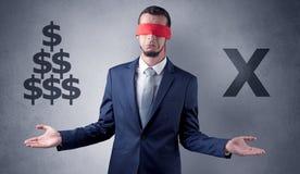 Mens met lint op zijn de dollartekens van de oogholding Royalty-vrije Stock Fotografie