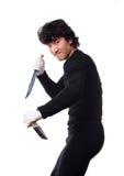 mens met mes op een wit Stock Foto's