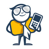 Mens met mobiel telefoonembleem Stock Afbeelding