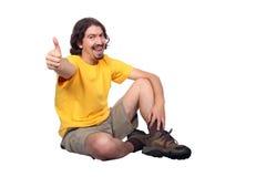 Mens met omhoog duim Stock Foto