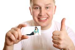 Mens met omhoog kaart van meisje en duim, collage royalty-vrije stock afbeelding