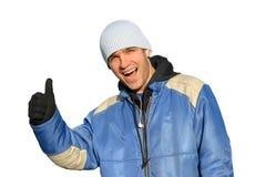 Mens met omhoog vinger Stock Fotografie