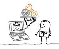 Mens met online onderhoud vector illustratie