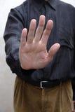 Mens met Open Hand om Einde aan Corruptie te zeggen stock afbeeldingen