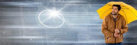 Mens met paraplu en technologie-interface in motie stock afbeelding