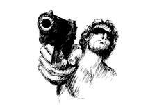 Mens met pistool Stock Foto