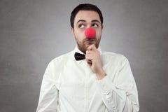 Mens met rode neus Royalty-vrije Stock Fotografie