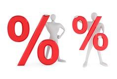 Mens met rood percententeken Royalty-vrije Stock Afbeeldingen