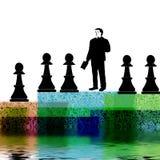 Mens met schaakpanden   Royalty-vrije Stock Afbeelding